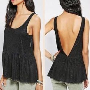 Lucca Couture black lace peplum tank